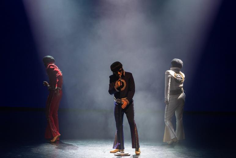 Na kolorowym zdjęciu widzimy trzech mężczyzn stylizowanych na Elvisa Presleya. Jeden z mężczyzn śpiewa do mikrofonu, pozostali dwaj stoją po lewej i prawej stronie odwróceni tyłem. Każdy z mężczyzn ubrany jest w charakterystyczny strój Elvisa, w kolorach: biały, czarny i czerwony. Mężczyźni maja ciemne okulary. Na scenie panuje półmrok, unosi się mgła.