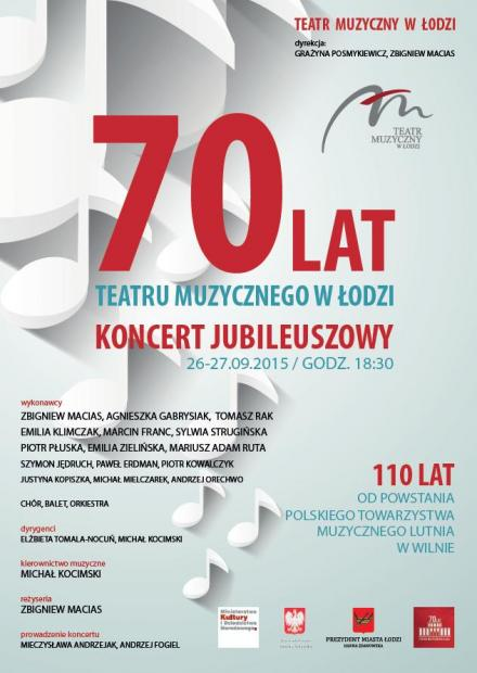 70 lat Teatru Muzycznego plakat